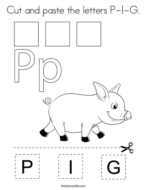 Cut and paste the letters P-I-G. Coloring Page