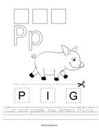 Cut and paste the letters P-I-G Handwriting Sheet