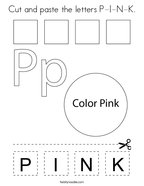 Cut and paste the letters P-I-N-K Coloring Page