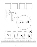 Cut and paste the letters P-I-N-K Handwriting Sheet