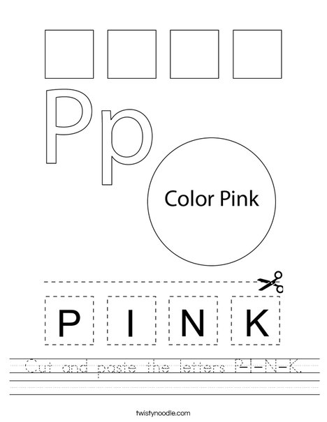 Cut and paste the letters P-I-N-K. Worksheet
