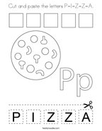 Cut and paste the letters P-I-Z-Z-A Coloring Page