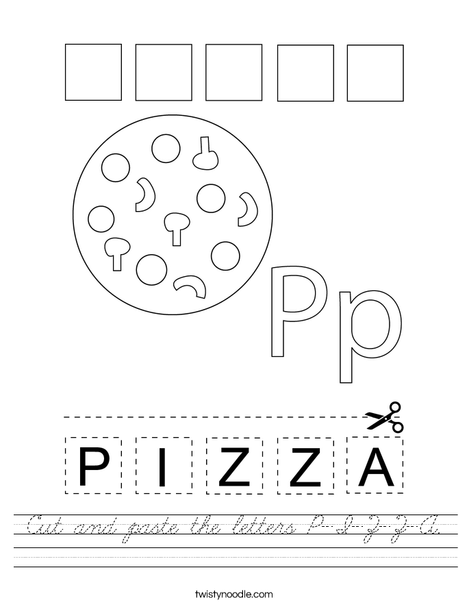 Cut and paste the letters P-I-Z-Z-A. Worksheet