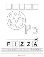 Cut and paste the letters P-I-Z-Z-A Handwriting Sheet