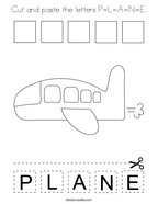 Cut and paste the letters P-L-A-N-E Coloring Page