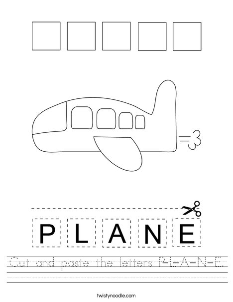Cut and paste the letters P-L-A-N-E. Worksheet