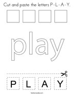 Cut and paste the letters P-L-A-Y Coloring Page