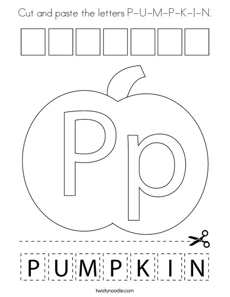 Cut and paste the letters P-U-M-P-K-I-N. Coloring Page