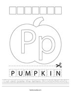 Cut and paste the letters P-U-M-P-K-I-N Handwriting Sheet