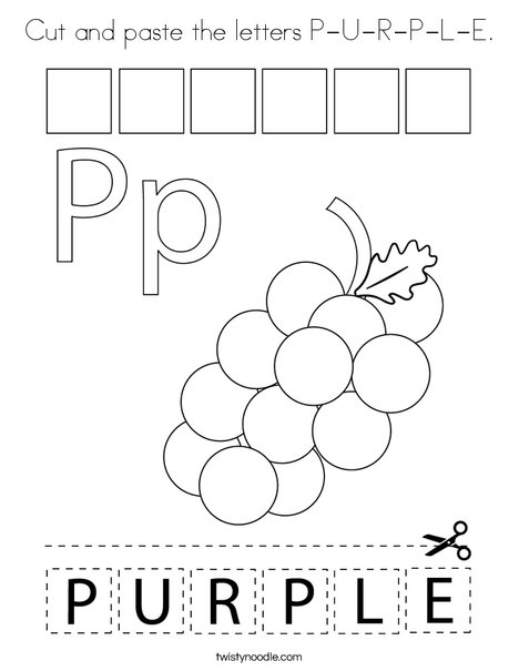 Cut and paste the letters P-U-R-P-L-E Coloring Page