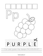 Cut and paste the letters P-U-R-P-L-E Handwriting Sheet