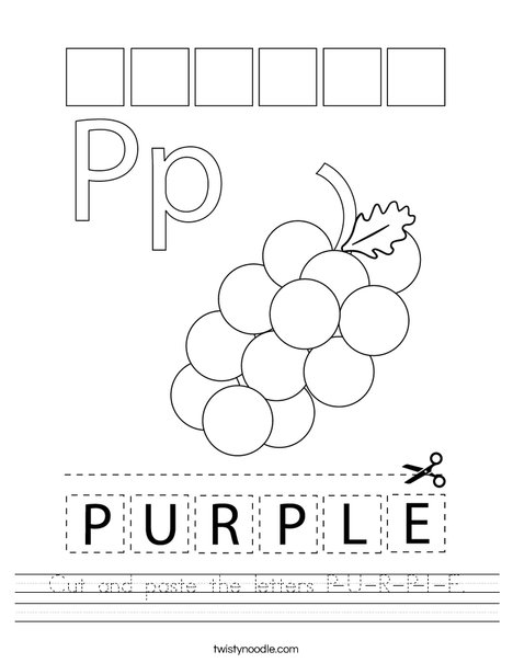 Cut and paste the letters P-U-R-P-L-E. Worksheet