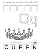 Cut and paste the letters Q-U-E-E-N Coloring Page