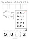 Cut and paste the letters Q-U-I-Z. Coloring Page