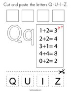 Cut and paste the letters Q-U-I-Z Coloring Page