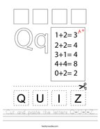 Cut and paste the letters Q-U-I-Z Handwriting Sheet