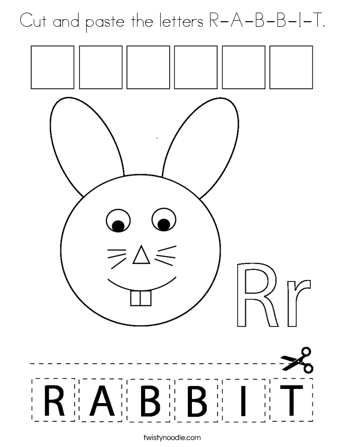 Cut and paste the letters R-A-B-B-I-T. Coloring Page