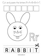 Cut and paste the letters R-A-B-B-I-T Coloring Page