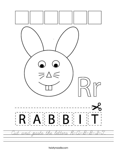 Cut and paste the letters R-A-B-B-I-T. Worksheet