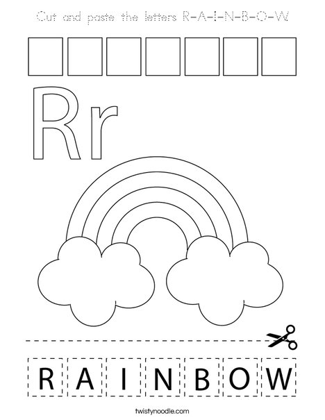 Cut and paste the letters R-A-I-N-B-O-W. Coloring Page