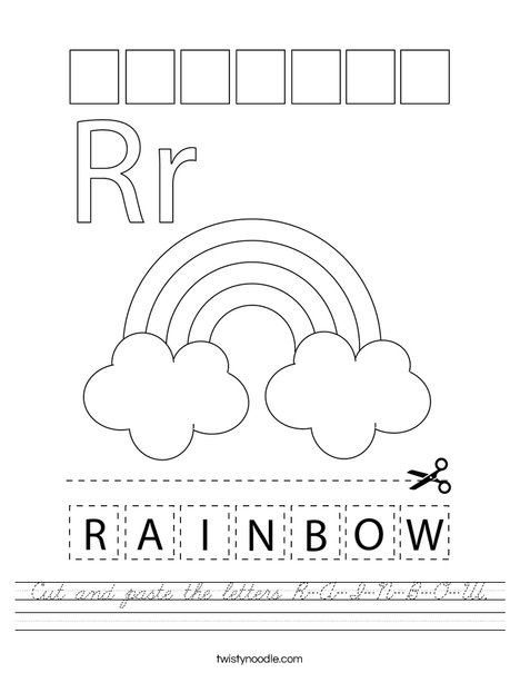 Cut and paste the letters R-A-I-N-B-O-W. Worksheet