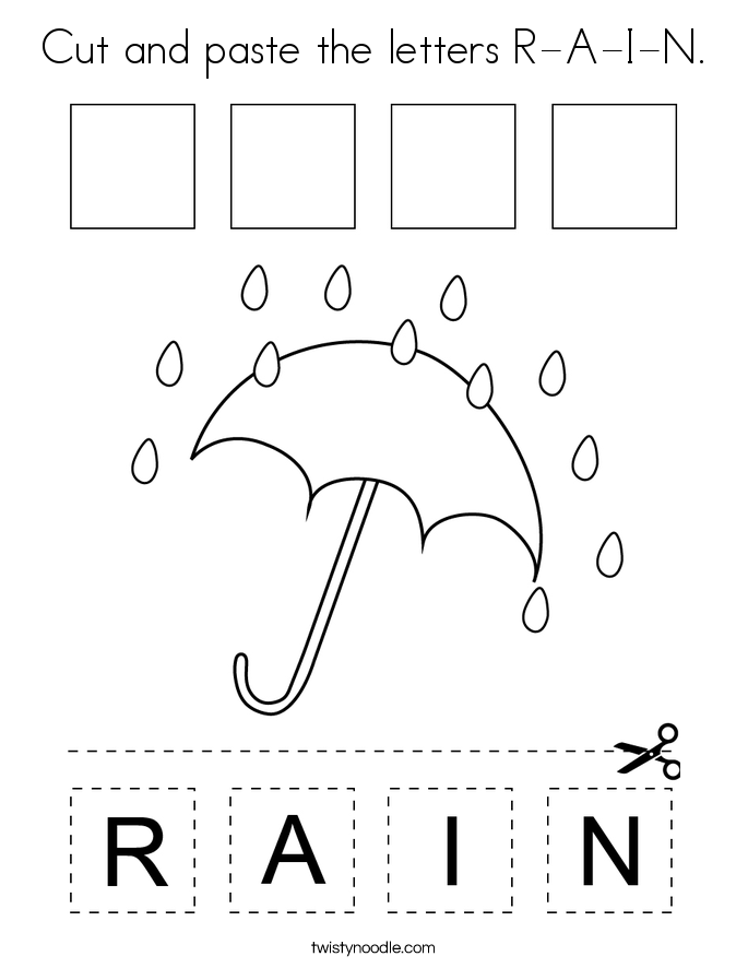 Cut and paste the letters R-A-I-N. Coloring Page