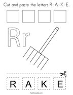 Cut and paste the letters R-A-K-E Coloring Page