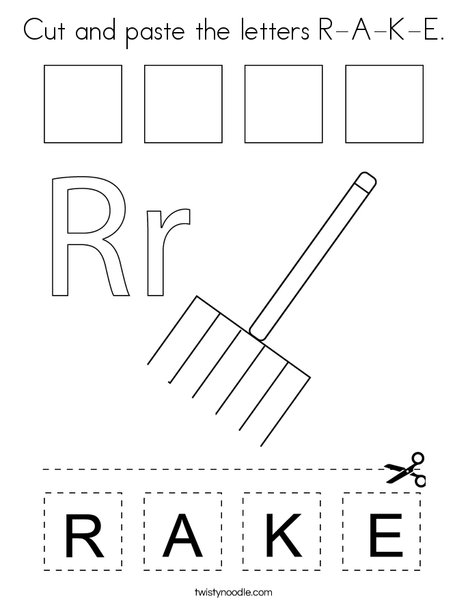 Cut and paste the letters R-A-K-E. Coloring Page