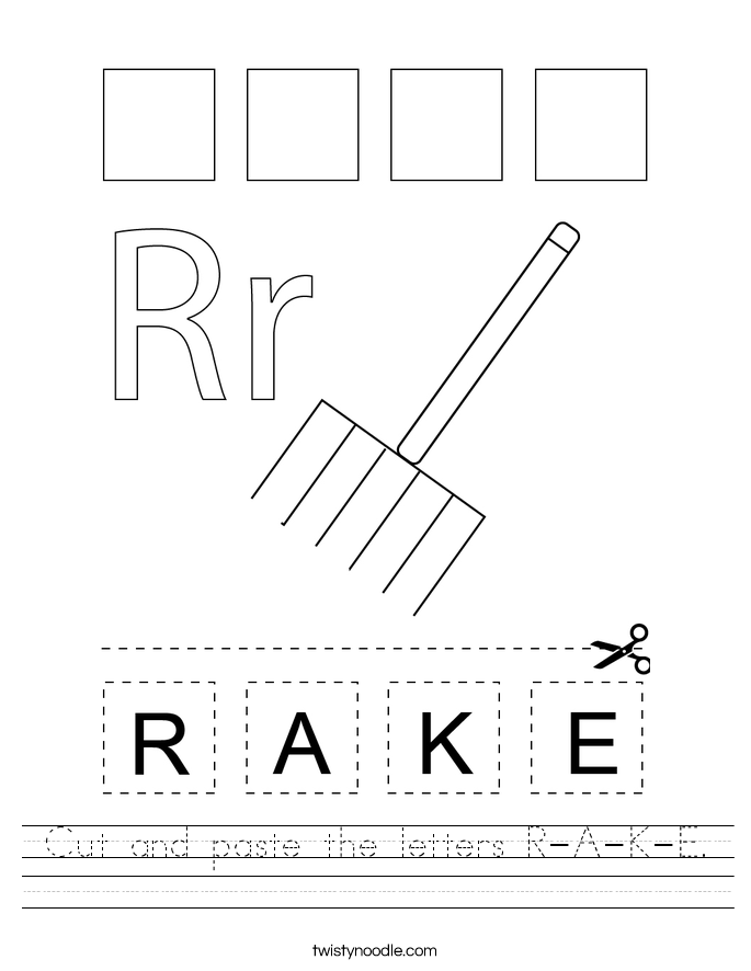Cut and paste the letters R-A-K-E. Worksheet
