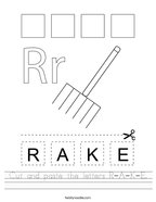Cut and paste the letters R-A-K-E Handwriting Sheet