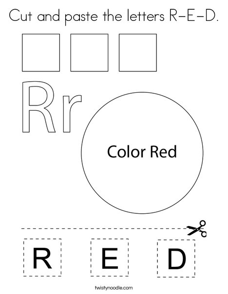 Cut and paste the letters R-E-D. Coloring Page