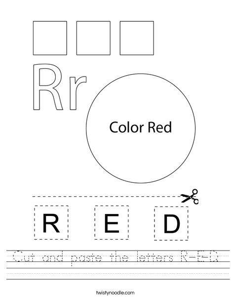 Cut and paste the letters R-E-D. Worksheet