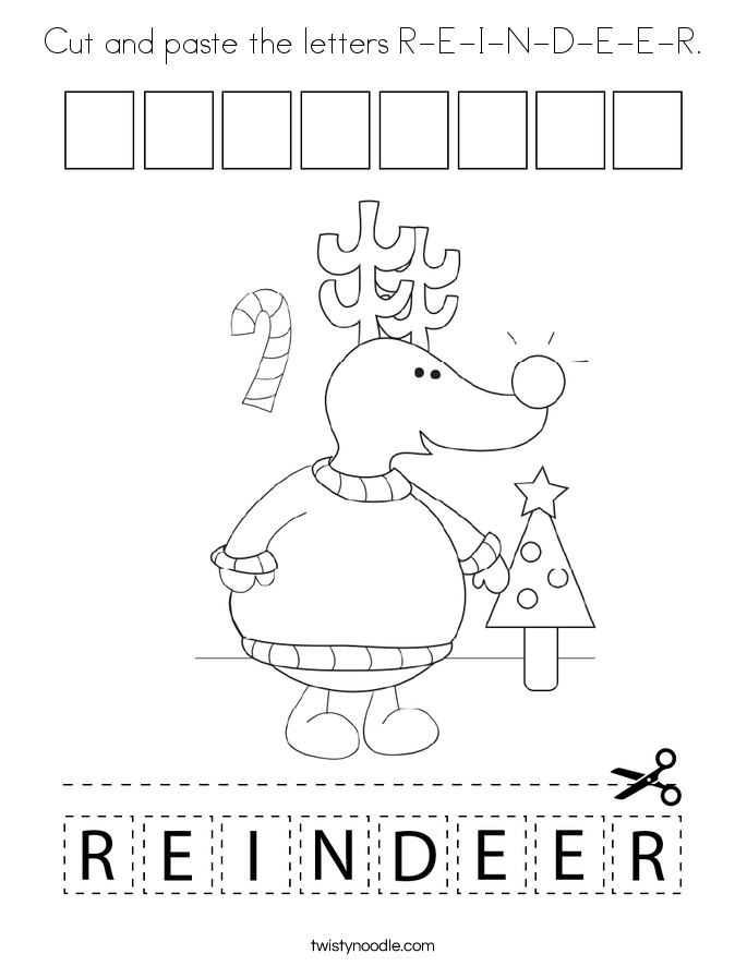 Cut and paste the letters R-E-I-N-D-E-E-R. Coloring Page