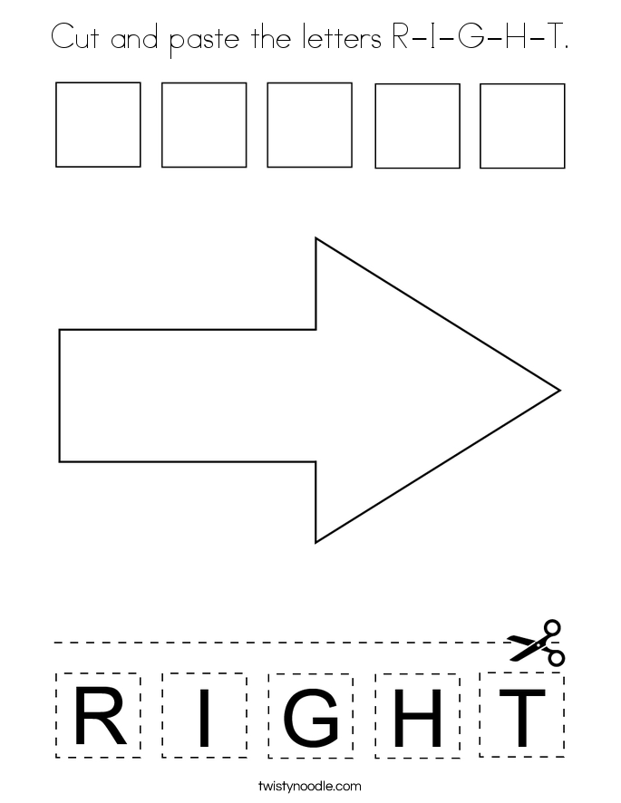 Cut and paste the letters R-I-G-H-T. Coloring Page