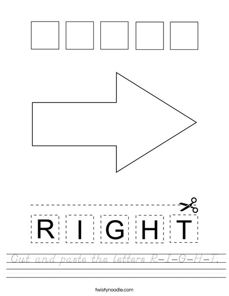 Cut and paste the letters R-I-G-H-T. Worksheet