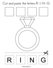 Cut and paste the letters R-I-N-G Coloring Page