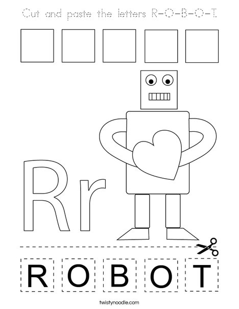 Cut and paste the letters R-O-B-O-T. Coloring Page