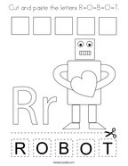 Cut and paste the letters R-O-B-O-T Coloring Page