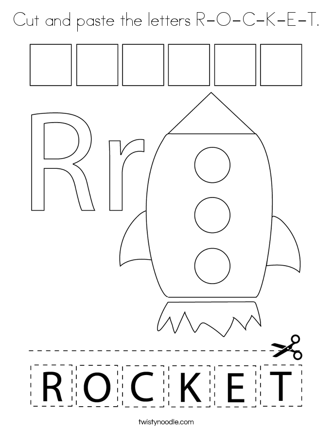 Cut and paste the letters R-O-C-K-E-T. Coloring Page
