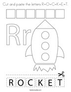 Cut and paste the letters R-O-C-K-E-T Coloring Page