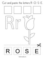 Cut and paste the letters R-O-S-E Coloring Page