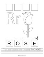 Cut and paste the letters R-O-S-E Handwriting Sheet