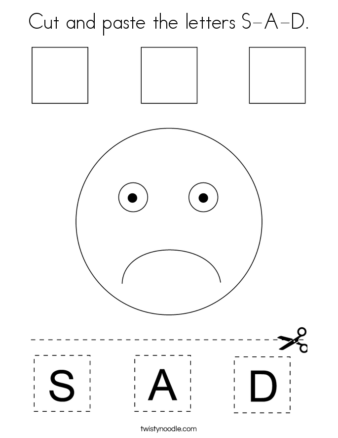 Cut and paste the letters S-A-D. Coloring Page
