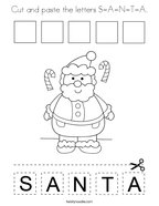 Cut and paste the letters S-A-N-T-A Coloring Page