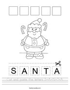 Cut and paste the letters S-A-N-T-A Handwriting Sheet
