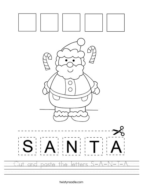 Cut and paste the letters S-A-N-T-A. Worksheet