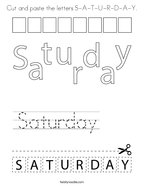 Cut and paste the letters S-A-T-U-R-D-A-Y Coloring Page