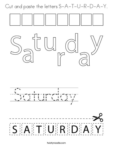 Cut and paste the letters S-A-T-U-R-D-A-Y. Coloring Page