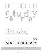 Cut and paste the letters S-A-T-U-R-D-A-Y Handwriting Sheet