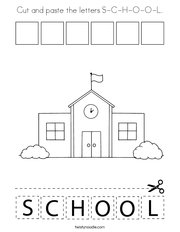 Cut and paste the letters S-C-H-O-O-L Coloring Page